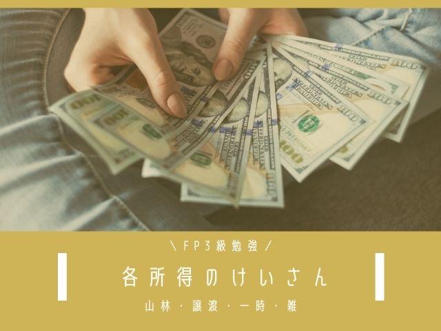 各所得の種類と計算(第2編:山林・譲渡・一時・雑所得)【FP3級勉強】